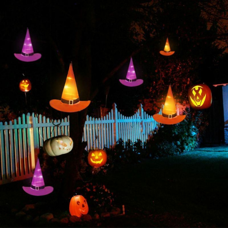 Details About 10m 6pcs Decorations Witch Hats Caps String Lights Outdoor