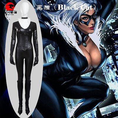 Black Cat Superhero Costume Shiny Metallic Female Halloween Cosplay Costume](Black Cat Superhero Costume)