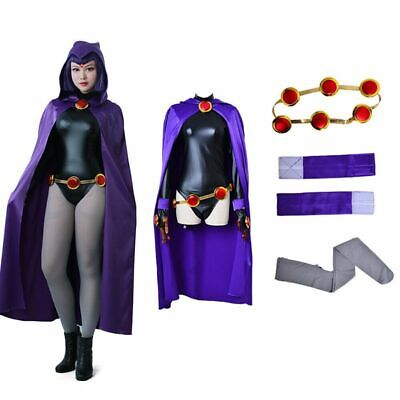 Raven Cosplay Costume (Womens Teen Titan Raven Costume Female Superhero Cosplay Jumpsuit Purple)