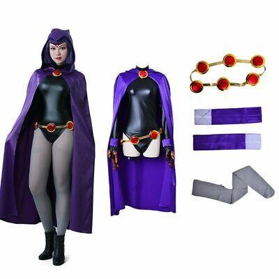 Black Female Superhero (Womens Teen Titan Raven Costume Female Superhero Cosplay Jumpsuit Purple)