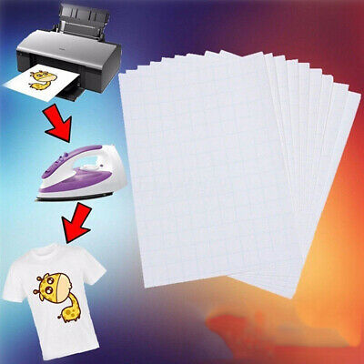 10pcs T Shirt A4 Transfer Paper Iron On Heat Press Light Fabrics Inkjet Print P2