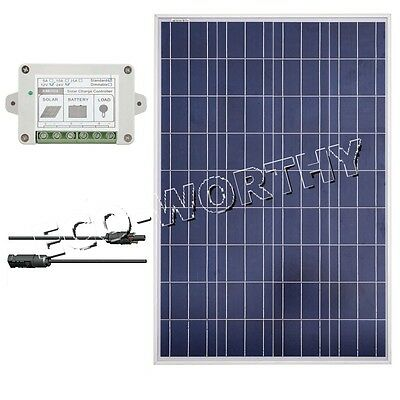 ECO 100W Poly Solar Panel  Kit 100W Solar Module W/ Controller & Cable For Home