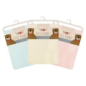 3 x Baby Soft Fleece Pram/Crib Blankets - 76 x 101cm (3 Colours Available)