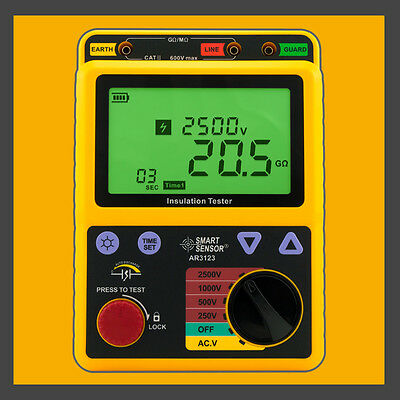 High Voltage 2.5kv Insulation Resistance Tester Meter Megger 99.9g Ohm Pi Ar3123