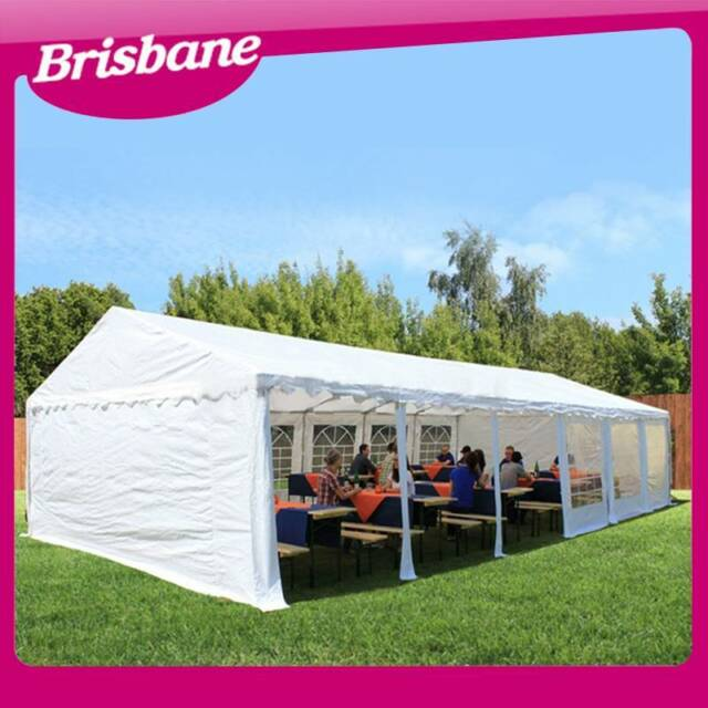Commercial outdoor wedding gazebo marquee 12m x 6m white for Gardening tools brisbane