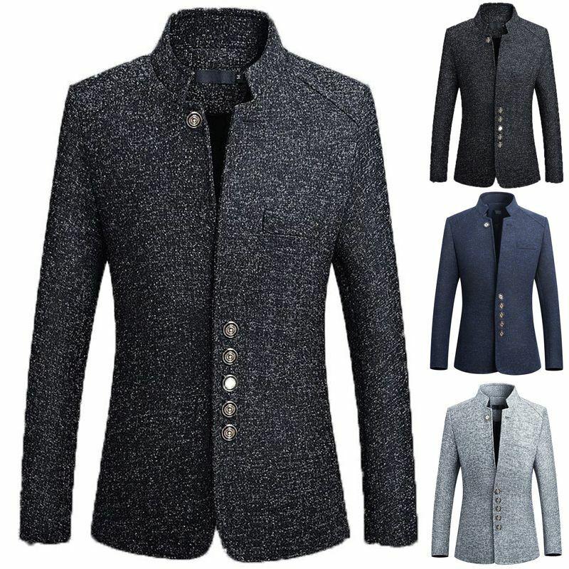 Men's British Casual Wool Trench Jacket Outwear Long Overcoa