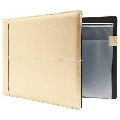 7 Ring Business Checkbook Check Book Binder Cover Champagne Gold Pu Leather