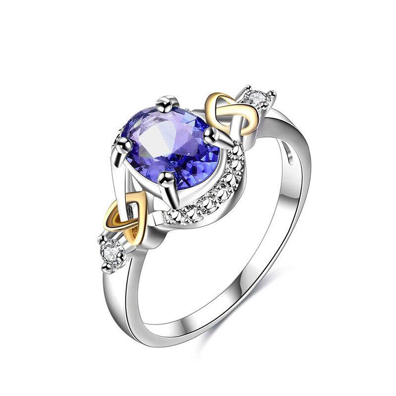 Infinity Heart Ring Blue Topaz Women Jewelry Fashion White Gold Plated Heart CZ Fashion Jewelry
