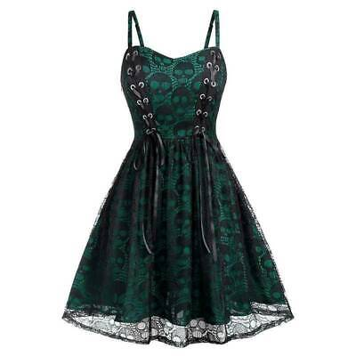 Women Skull Printed Lace Up Gothic Dress Vintage Steampunk Victorian Swing Dress