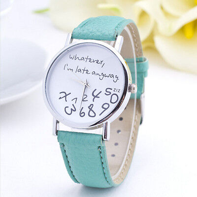 Women Watch Leather Band English Letter Numbers Printed Analog Quartz Watch V Black Numbers Leather Band