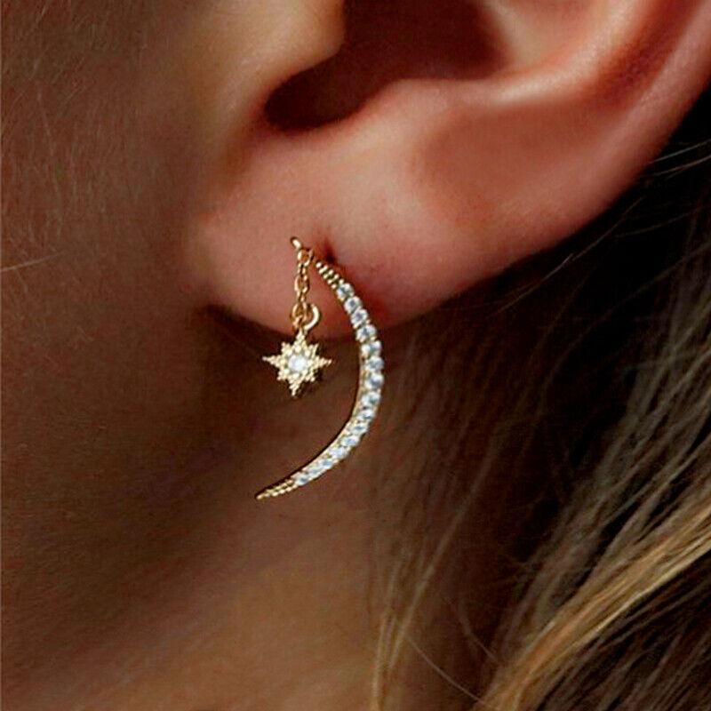 Jewellery - Fashion Moon Star Drop Earrings Women 18k Yellow Gold Plated Jewelry A Pair/set