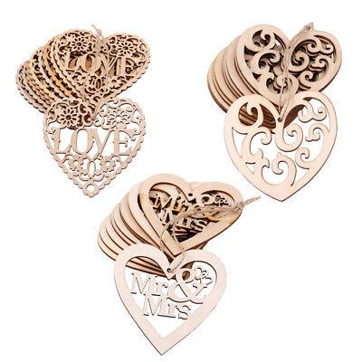 10PCS Laser Cut Decorative Love Heart Wooden Shape Craft Wedding Embellishment - Wooden Hearts Crafts