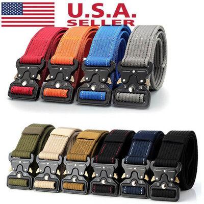 USA Mens Military Belt Buckle Combat Waistband Tactical Resc