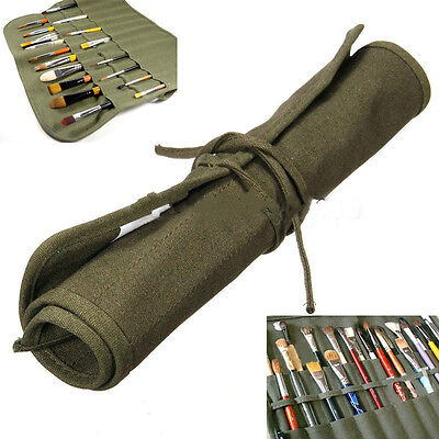 Popular Roll Up Canvas Paint Brush Storage Case Bag For Watercolor Oil FU