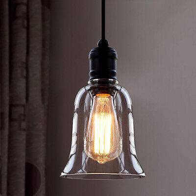 Industrial Vintage Retro Single Light Mini Pendant Light with Clear Glass Shade