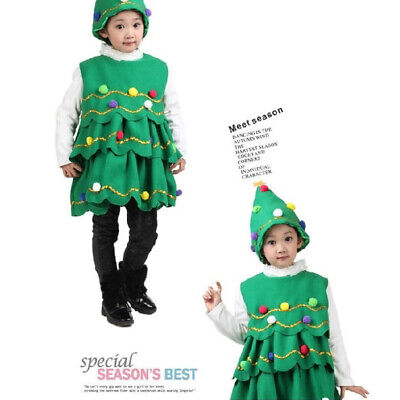 Kid Girls Christmas tree Costume Halloween Cosplay Party Fancy Performance Dress ()