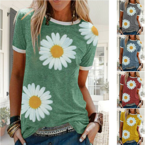 Women Summer Short Sleeve Casual Crew Neck T Shirt Floral Loose Tunic Top Blouse Clothing, Shoes & Accessories
