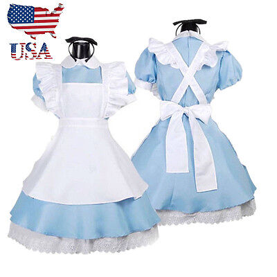 US Stock Adult Girl Alice in Wonderland Costume French Maid Lolita Dress  - French Girl Costumes
