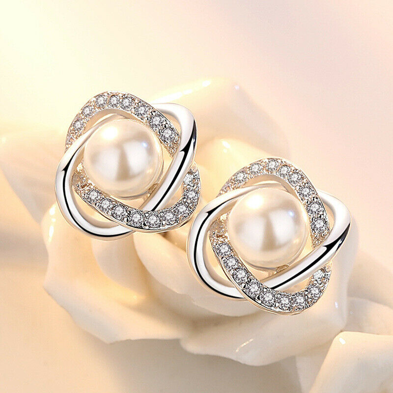 Jewellery - 925 Sterling Silver Crystal Pearl Twist Stone Stud Earrings Womens Jewellery