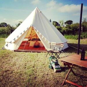 Outdoor Luxury Canvas Camping Bell Tent Survival Hunting Glamping9.8/13/16FT(022365/022378/022666)