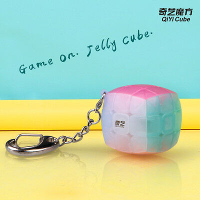 QiYi 3x3x3 Small Steamed buns Fidget Casual Cubo Puzzle ToyKey Chain Jelly color