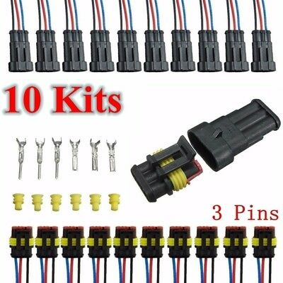 Set10 Kits Car 3 Pin Way Sealed Waterproof Electrical Wire Auto Connector Plug