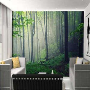 Dim-nebbia-nella-foresta-3D-Tenda-Bloccare-Foto-Stampa-Tendaggio-Drappo-Tessuto