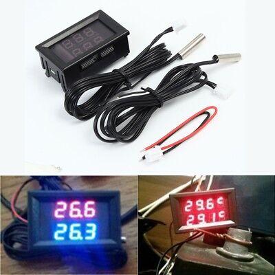 Led Dual Display Digital Thermometer Sensor Dc 4-28v Ntc Metal Waterproof Probe