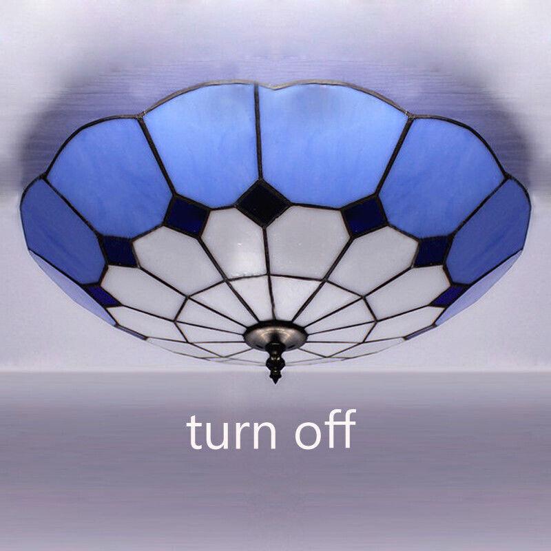 Tiffany Blue Stained Glass Chandelier Led Light Flush