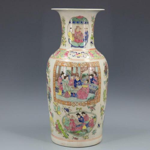 Chinese Antqiue Qing Dynasty KangXi Famille Rose Porcelain Figure Vase