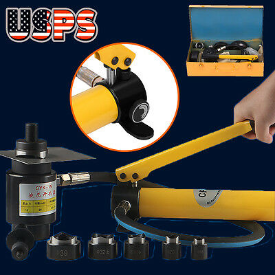 15Ton Driver Hydraulic Tool Kit 10 Dies 16-101mm Knockout Punch Set with Case - Hydraulic Punch Driver