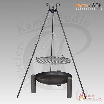 Feuerschale farmcook PAN 38 Rohstahl Ø 60 mit Schwenkgrill Rohstahl ohne Deckel