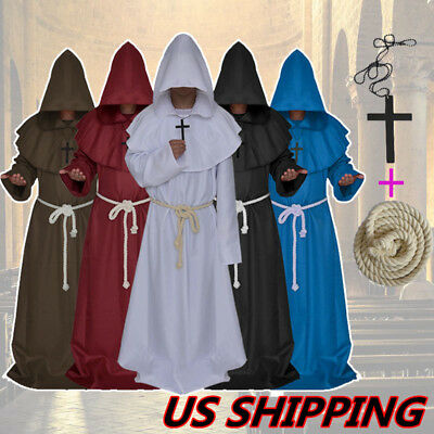 Friar Medieval Cowl Hooded Priest Halloween Party Costume Monk Renaissance Robe](Halloween Costume Priest)