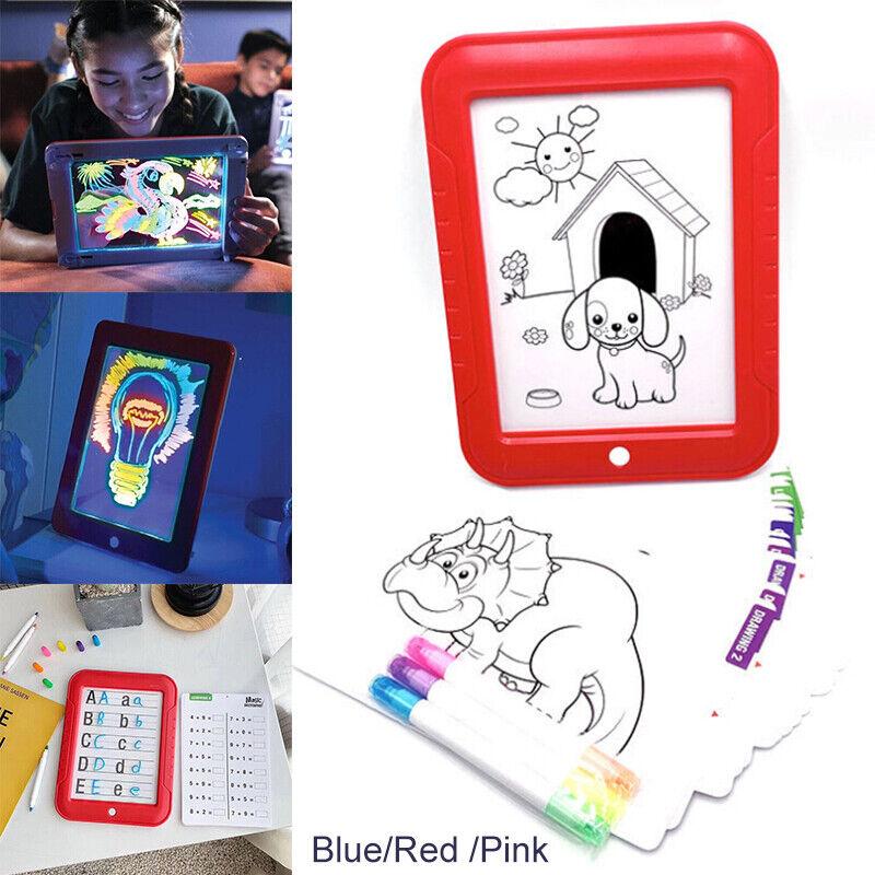 3D Magic Pad LED Light Up Board w/Pens Drawing Tablet Arts E