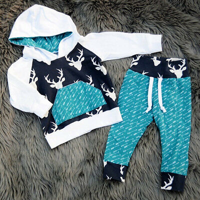 USA Christmas Toddler Baby Boys Deer Tops Hooded Pants Home Outfits Set Clothes (Toddler Christmas Clothing)