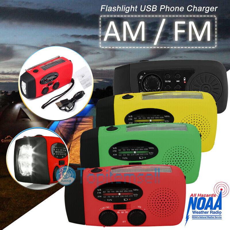 Emergency Radio AM/FM/NOAA Hand Crank Solar Weather USB Power Bank 3 LED Torch