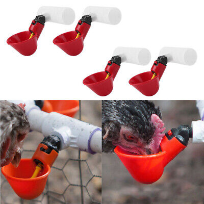 4x Automatic Poultry Bird Chicken Water Drinker-cups Plastic Drinking Bowls