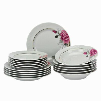 18 Pcs Round Porcelain Dinner Set Dinnerware Gold Rim Service Plate Flowers Pink Service Plate