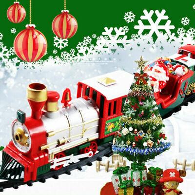 20Pcs Christmas Train Set Track Car Musical Sound Lights Around Tree Decoration