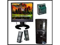 Full HP PC desktop set-up, MS Office, wireless , Speakers Logitech, desk & chair