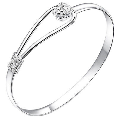 Great Women Bracelet Silver Plated Circle Rose Cuff Bangle Bracelet Jewelry WL Circle Silver Plated Bracelet