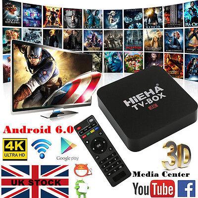 4K Quad Core Smart Android 6.0 TV BOX Latest 16.1 8GB Media Player Streamer UK