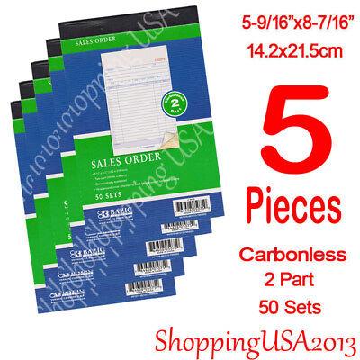 5Pcs Sales Order Books Receipt 2 Part Carbonless Form Invoice 50 Set Green