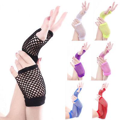 Women Punk Goth Lady Disco Dance Costume Lace Fingerless Mesh Fishnet Gloves