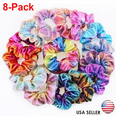 8Pack Women Shiny Metallic Hair Scrunchies Ponytail Holder Elastic Ties Bands