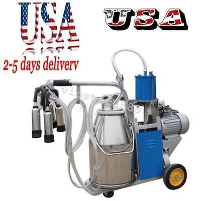 Auto Electric Milking Machine For Farm Cow Cattle Bucket Vacuum Piston Pump Usa