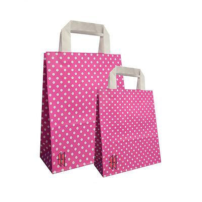 Papiertragetasche Points Pink mit Griff verschiedene Größen NEU ()