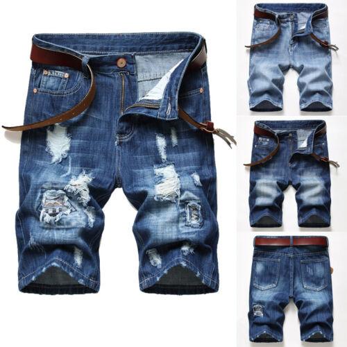 Men Casual Ripped Shorts Knee Length Short Jeans Denim Pant Shorts  New