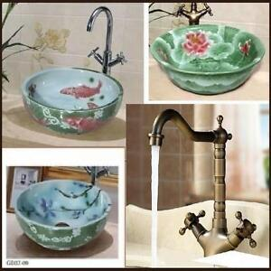 Artistic Hand Painted Wash Basin, Antique & modern Faucet, Lavabo, sink, évier, robinet
