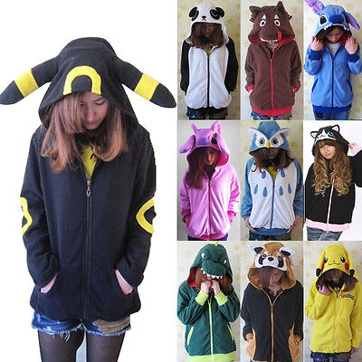 Cute Cosplay Anime Costume Ears Face Tail Zip Hooded Sweatshirt Hoodies Jacket  - Anime Cosplays